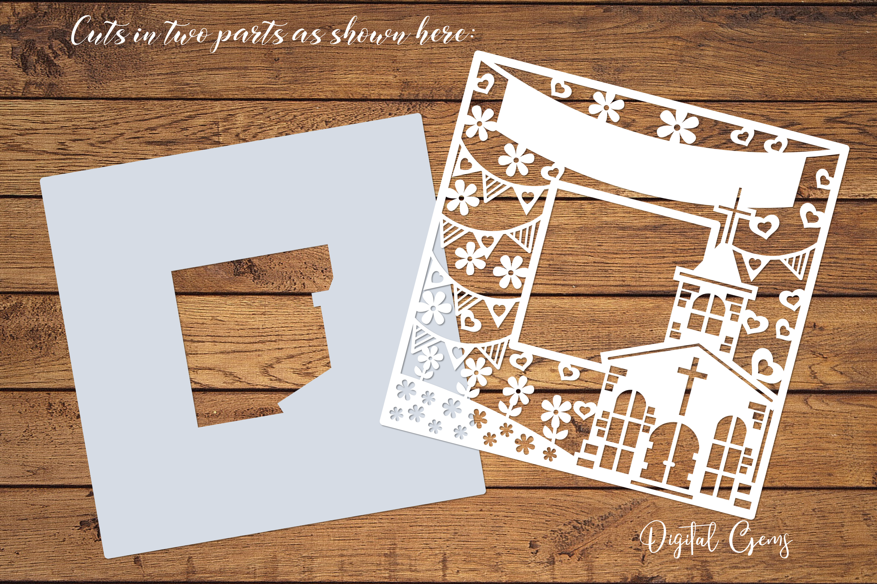 Church frame paper cut design SVG / DXF / EPS / PNG files example image 2