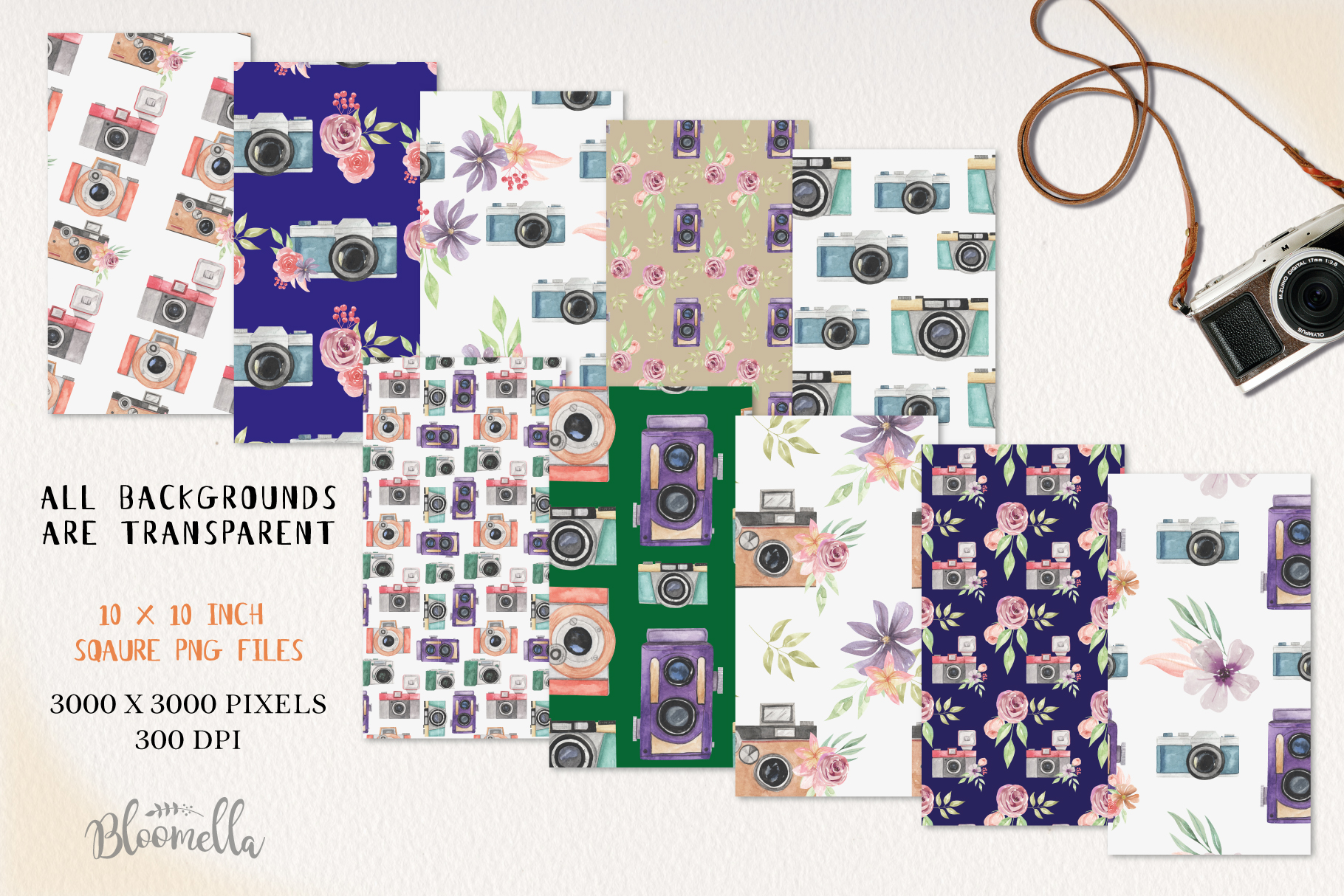 Camera Seamless Patterns Digital Papers Watercolor Photo example image 2