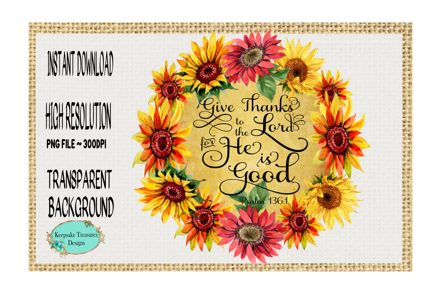 Give Thanks to The Lord, Psalms 136, Sublimation Design example image 1