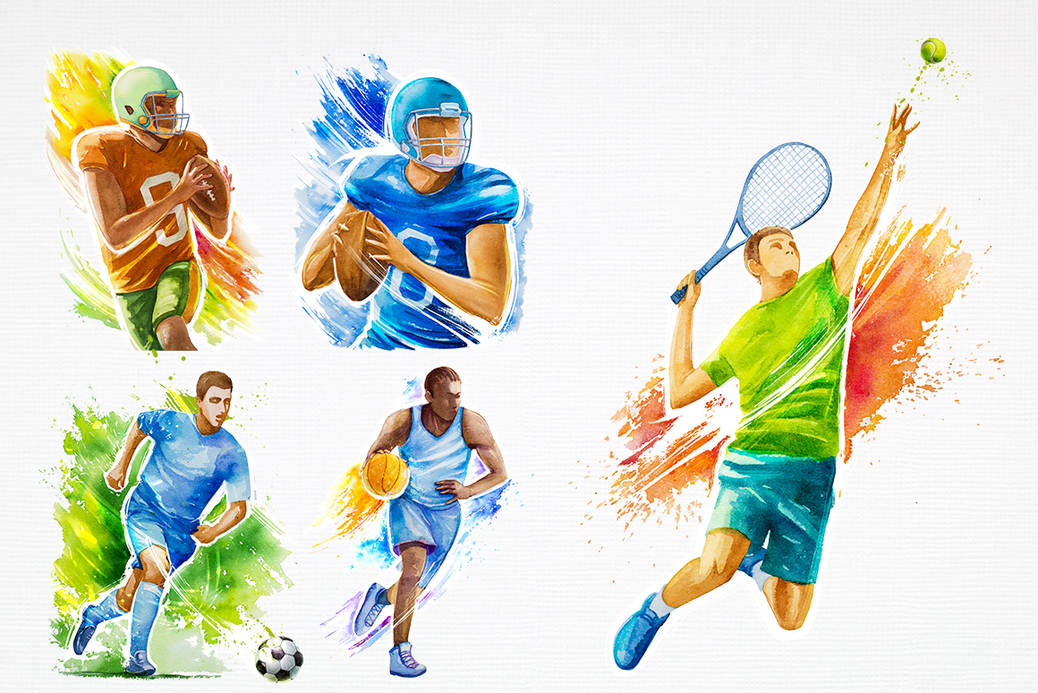 Sport. Watercolor illustrations. example image 7
