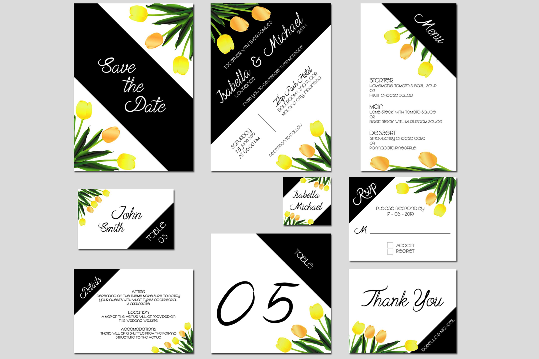 Asymmetric Tulips Wedding Invitation Kit example image 1