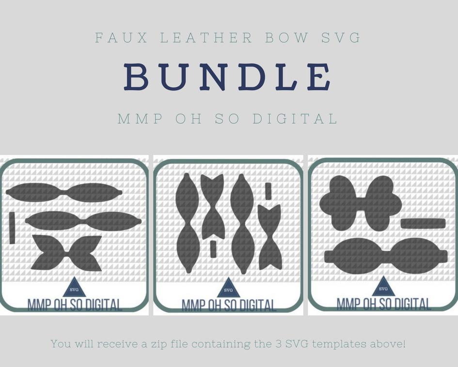 Faux Leather Bow Svg Bundle Template