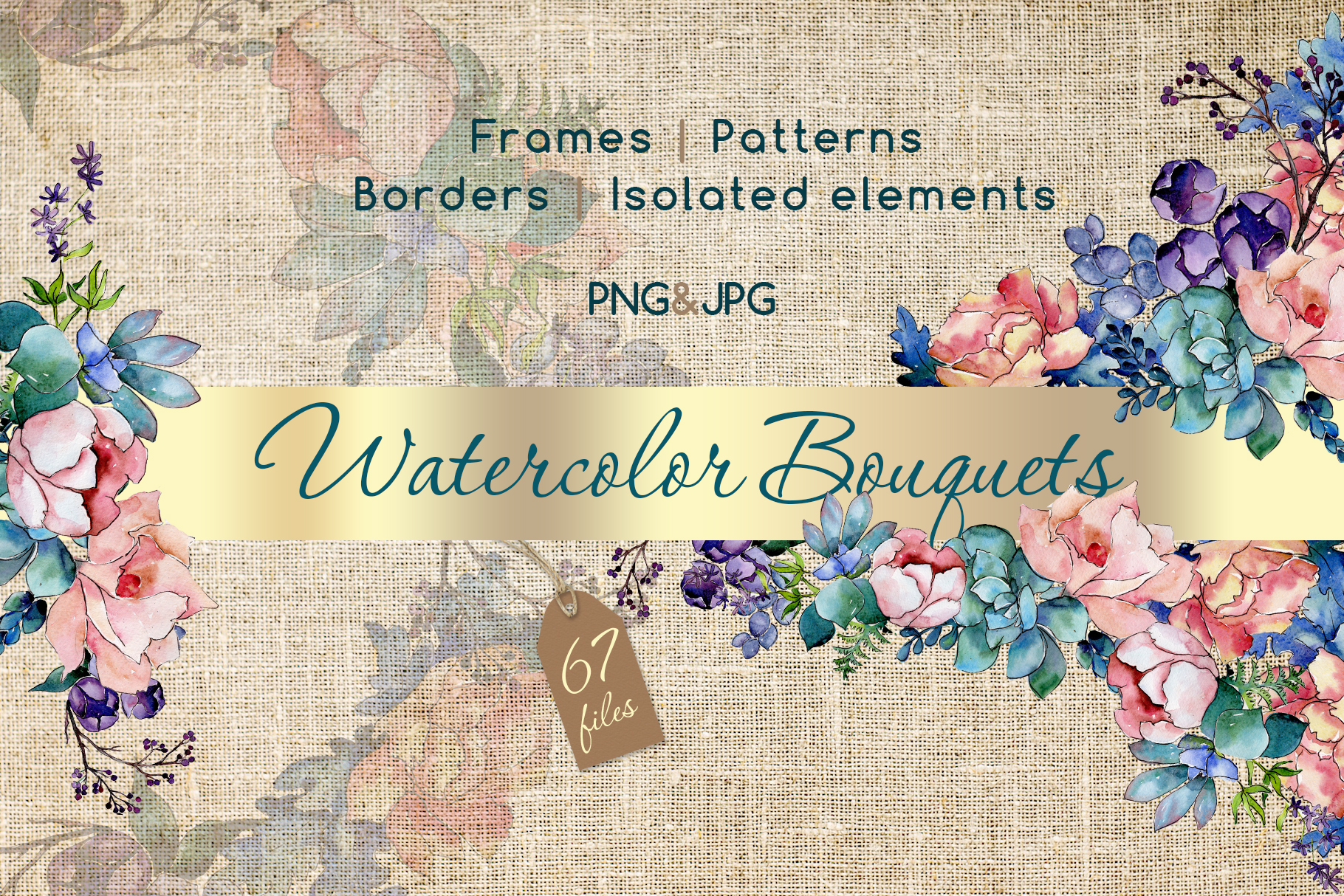 Watercolor bouquet PNG flower set example image 1