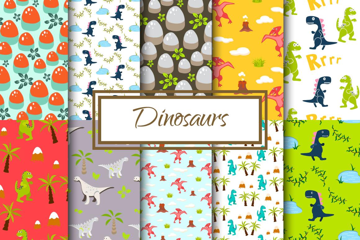 Dinosaur seamless paper set example image 1