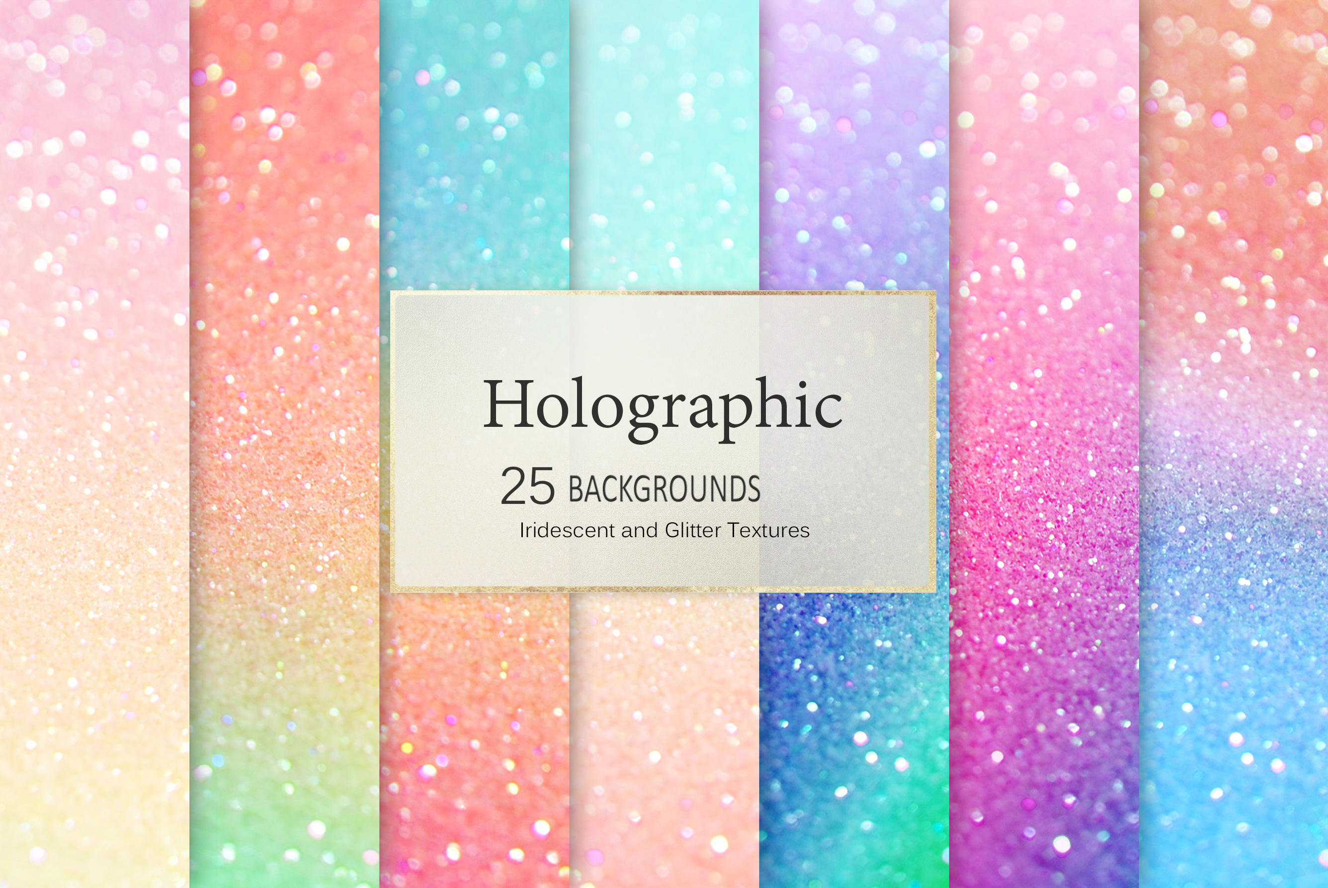 Iridescent 95 Glitter Textures Holographic Backgrounds example image 6