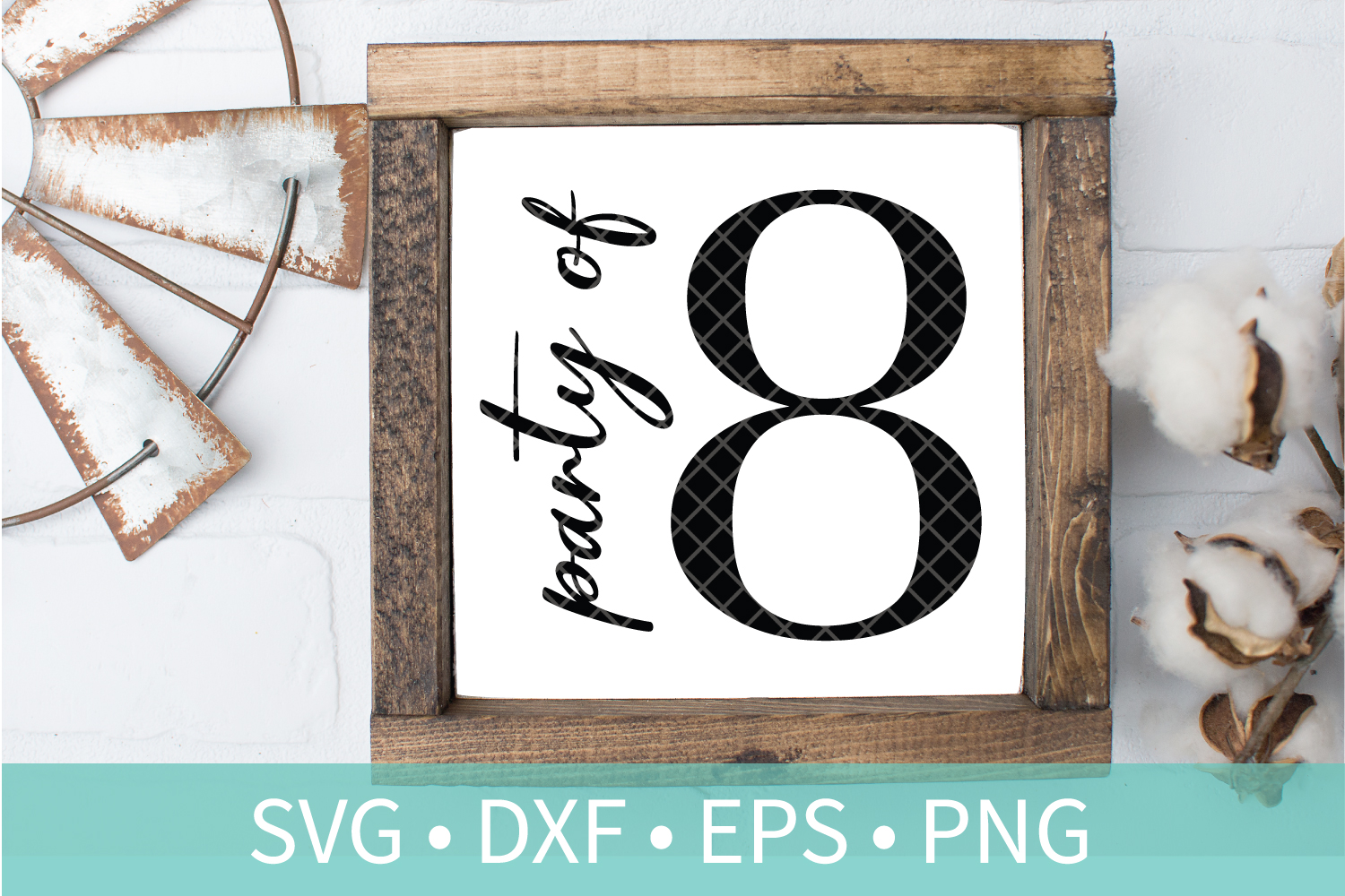 Party of 8 Family Sign SVG DXF EPS PNG Clipart Cut File example image 1