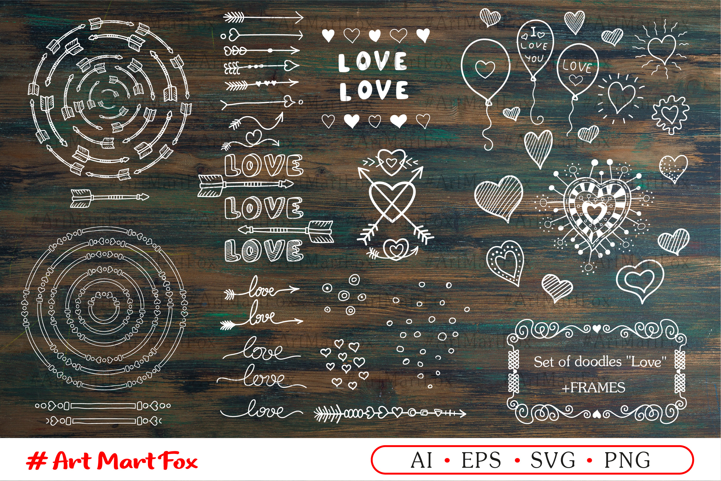 Set of hearts and arrows drawn by hands example image 2