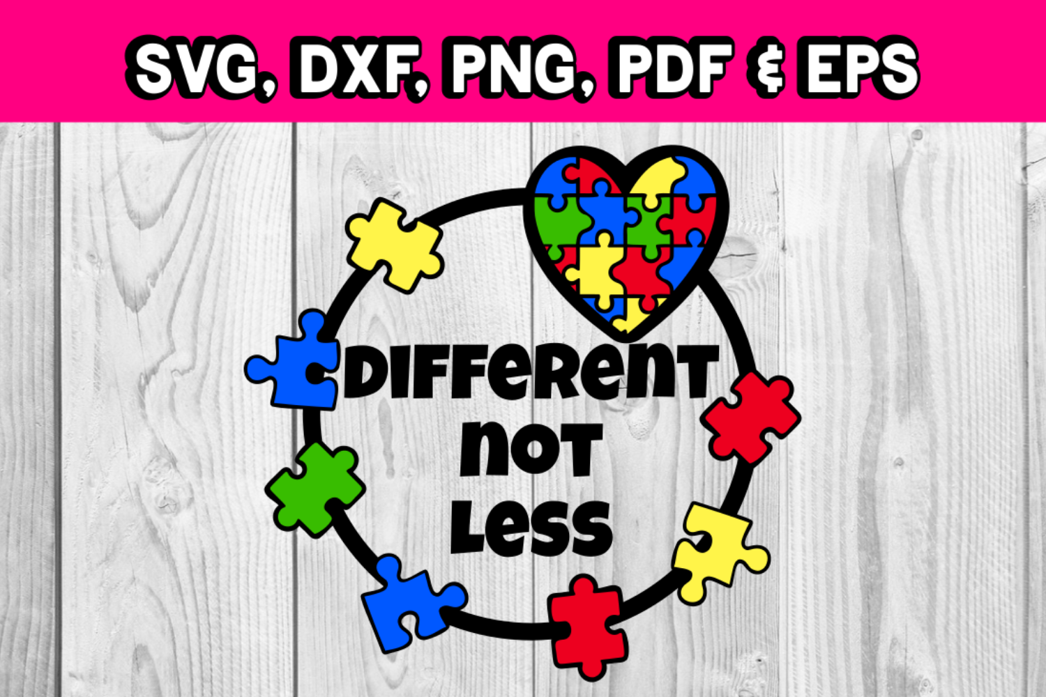 Autism awareness - Different not less - puzzle pieces svg example image 1