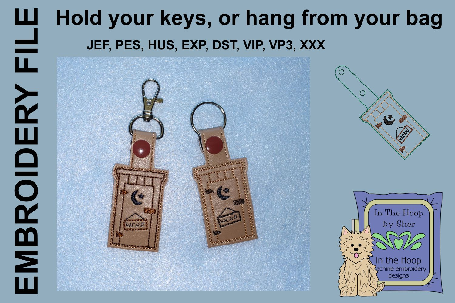 ITH Outhouse Key Fob - Embroidery Design example image 1