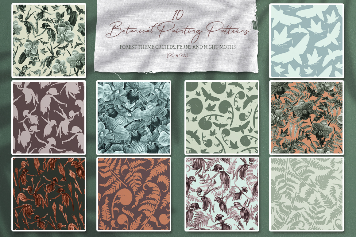 Forest Botanical Watercolor Patterns example image 4