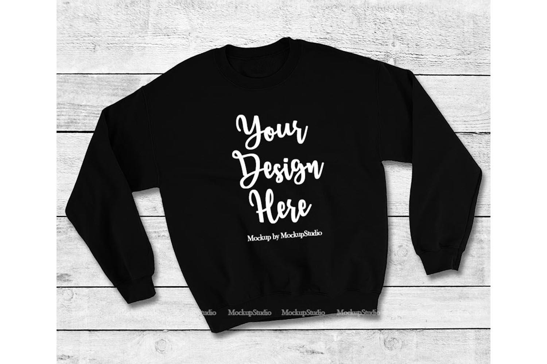 Black Sweatshirt Mock Up, Unisex Sweatshirt Flat Lay Display example image 1