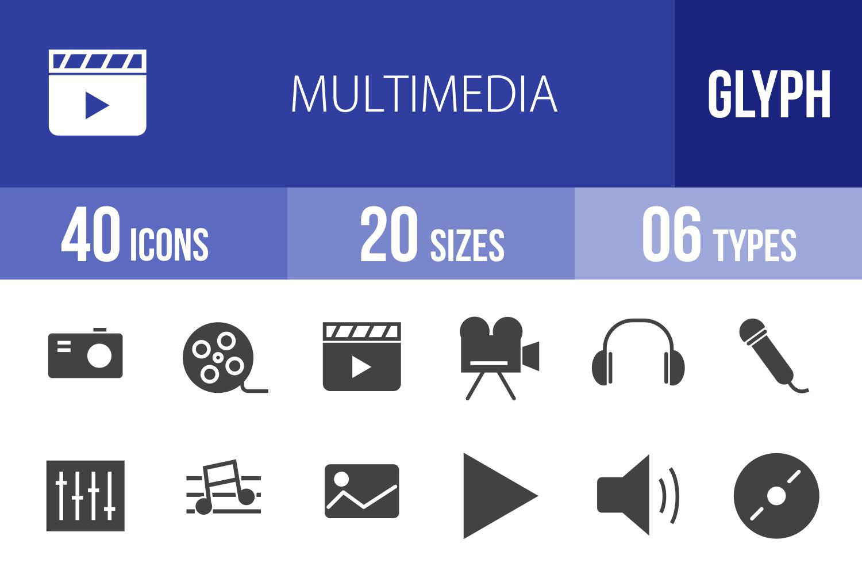 40 Multimedia Glyph Icons example image 1