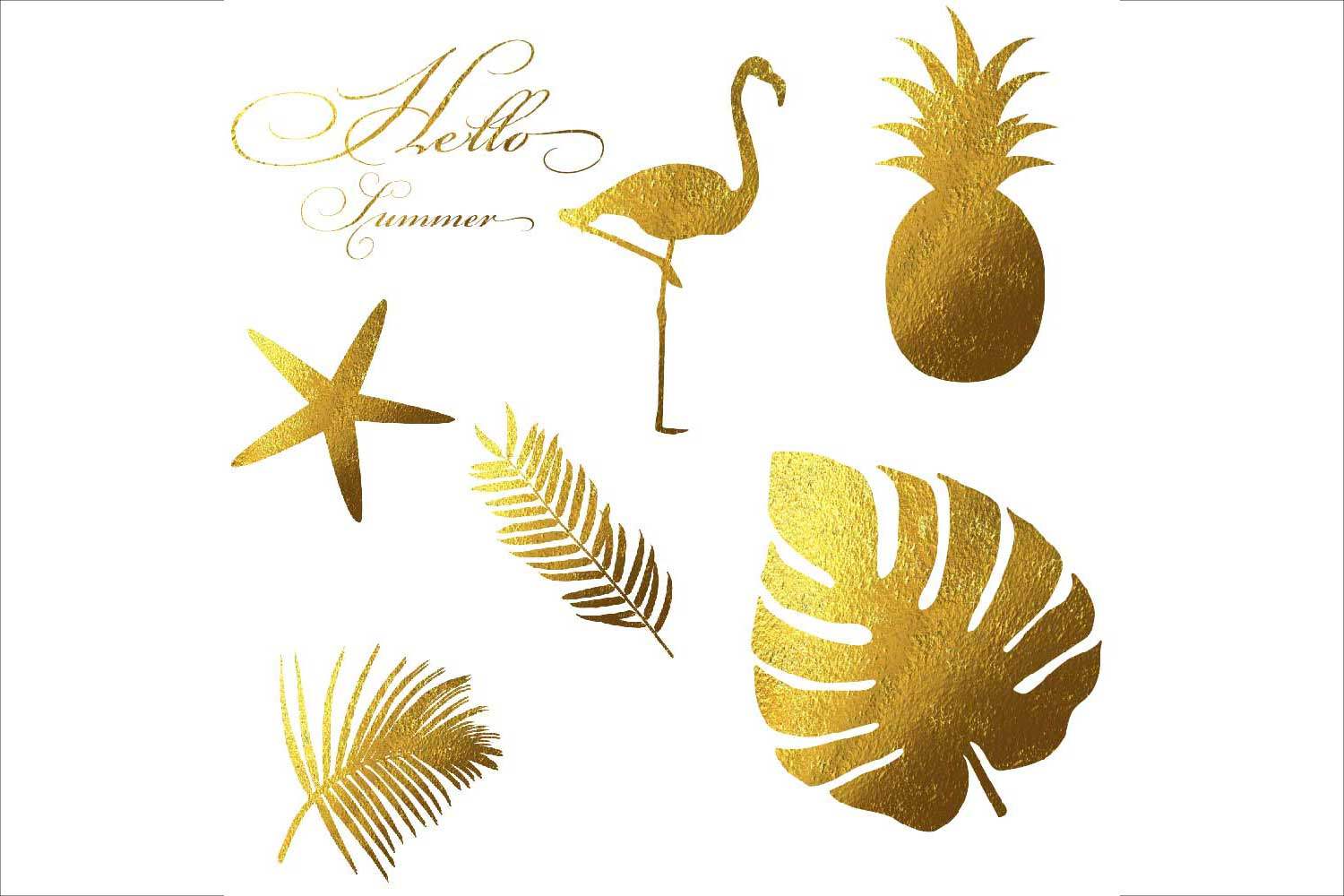 Gold Foil Summer Clipart example image 2