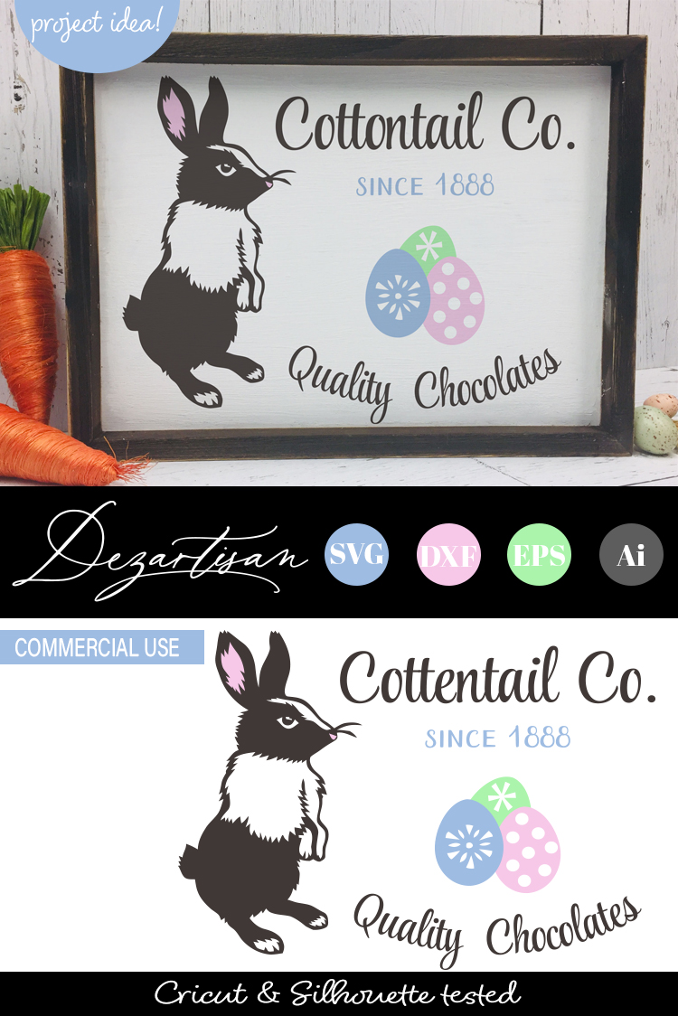 Cottontail Co Quality Chocolates Easter Bunny SVG example image 2