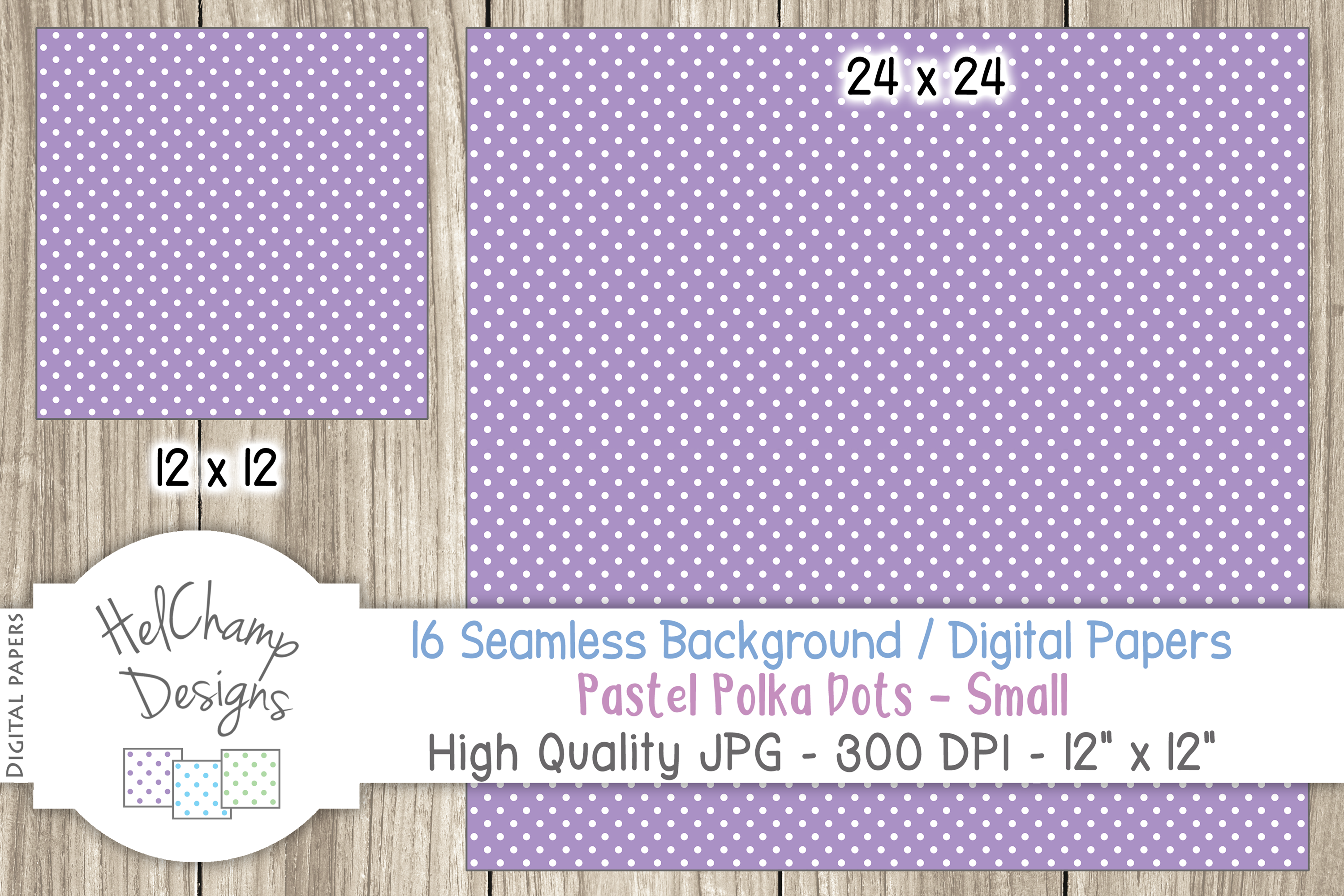 16 seamless Digital Papers - Pastel Polka Dots Small - HC009 example image 6