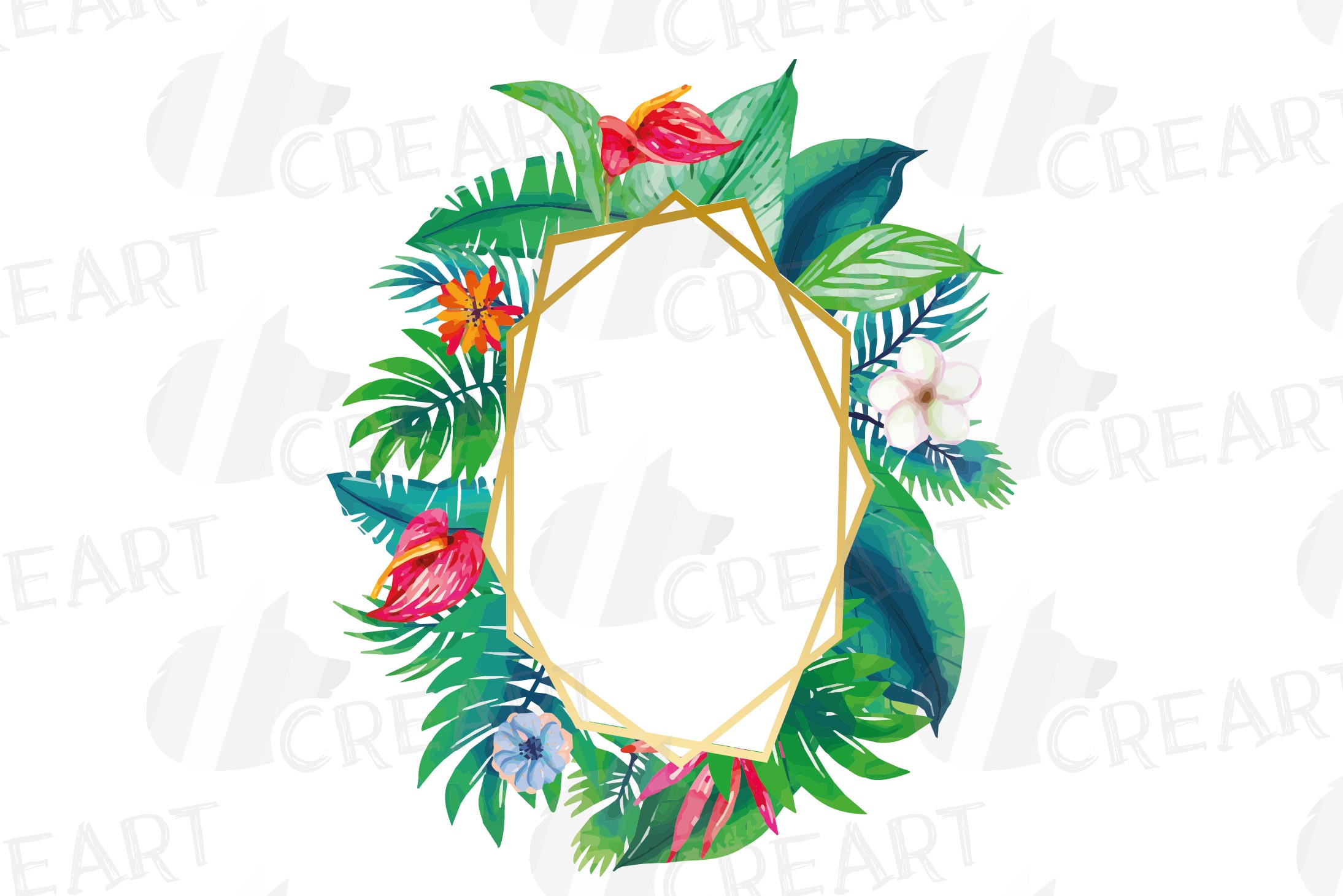 Watercolor tropical navy blue and green exotic floral frames example image 4