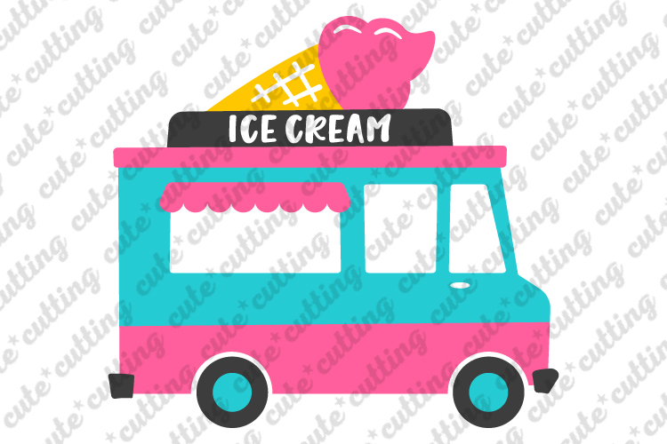 Ice cream truck svg, ice cream svg, food truck svg, dxf, png example image 1