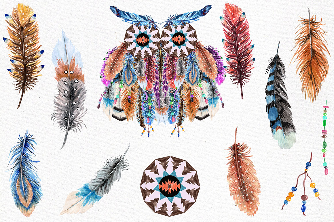 Watercolor feathers clipart example image 2