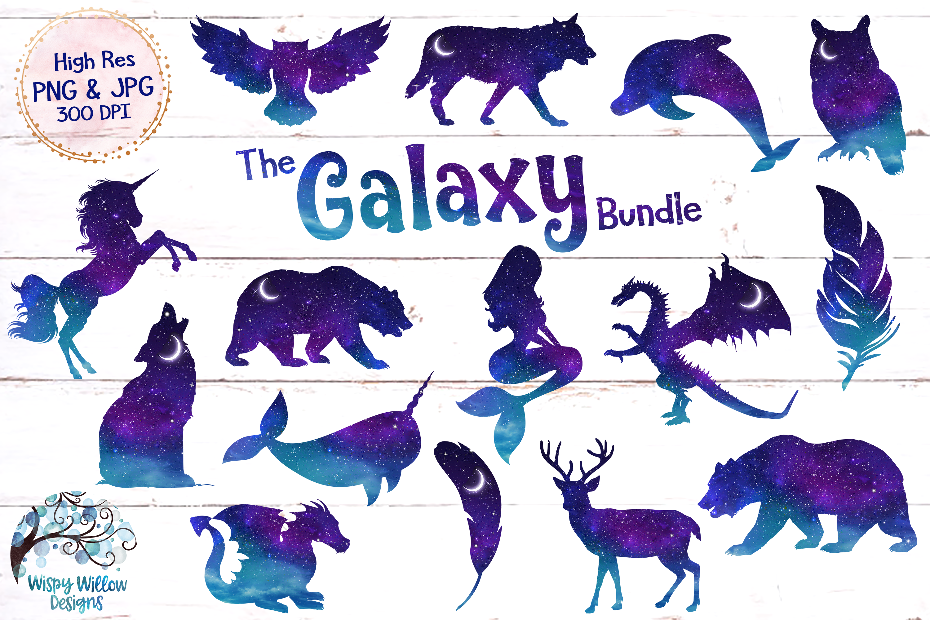 The Galaxy Clipart Bundle | PNG and JPG example image 1