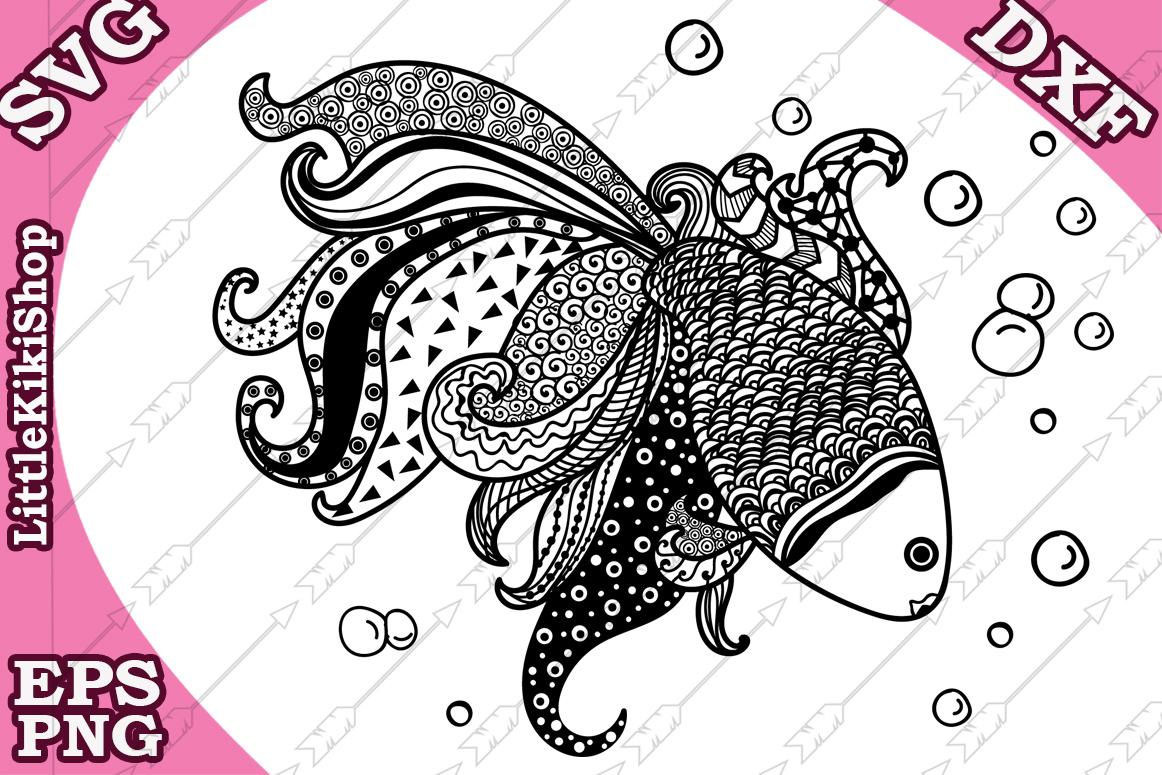 Gold Fish Svg, MANDALA GOLD FISH,Zentangle Fish Svg,Fish Svg example image 1
