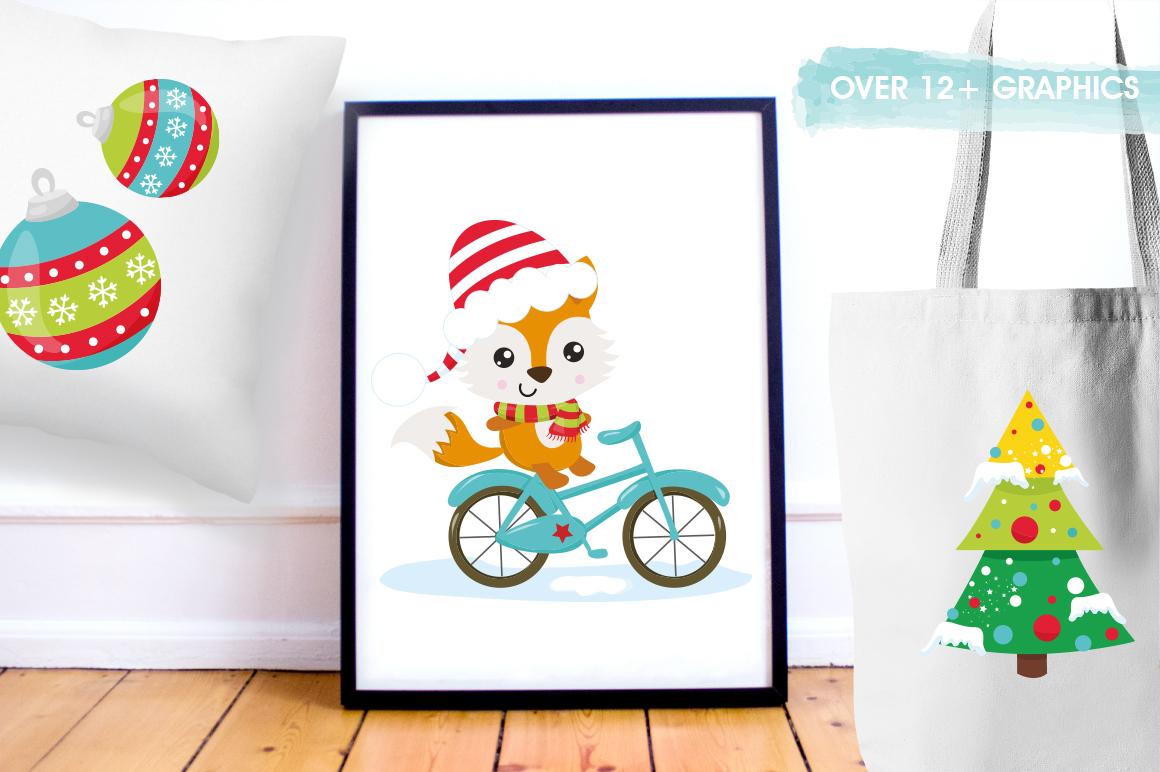 Christmas Woodland bikes graphics and illustrations example image 5