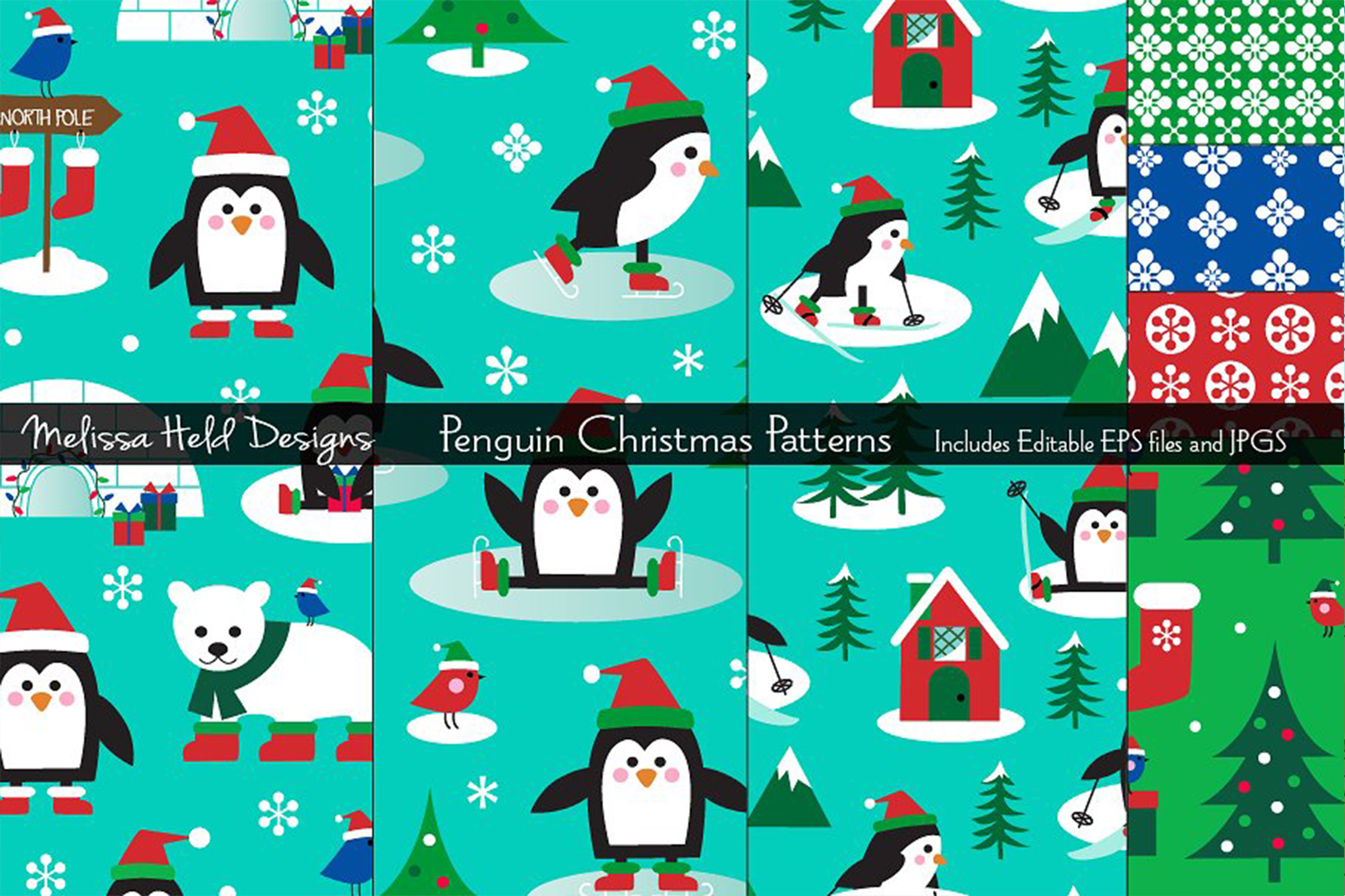 Penguin Christmas Patterns example image 1