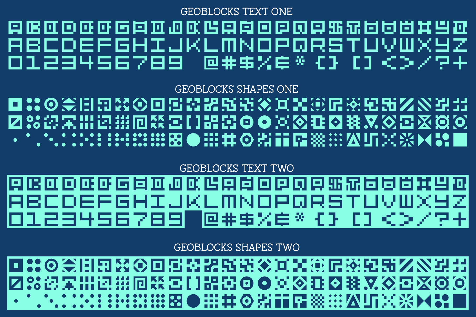 GeoBlocks - a geometric font set of blocks and shapes! example image 2