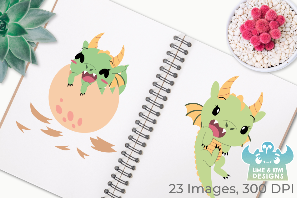 Little Dragon Girls Clipart, Instant Download Vector Art example image 3