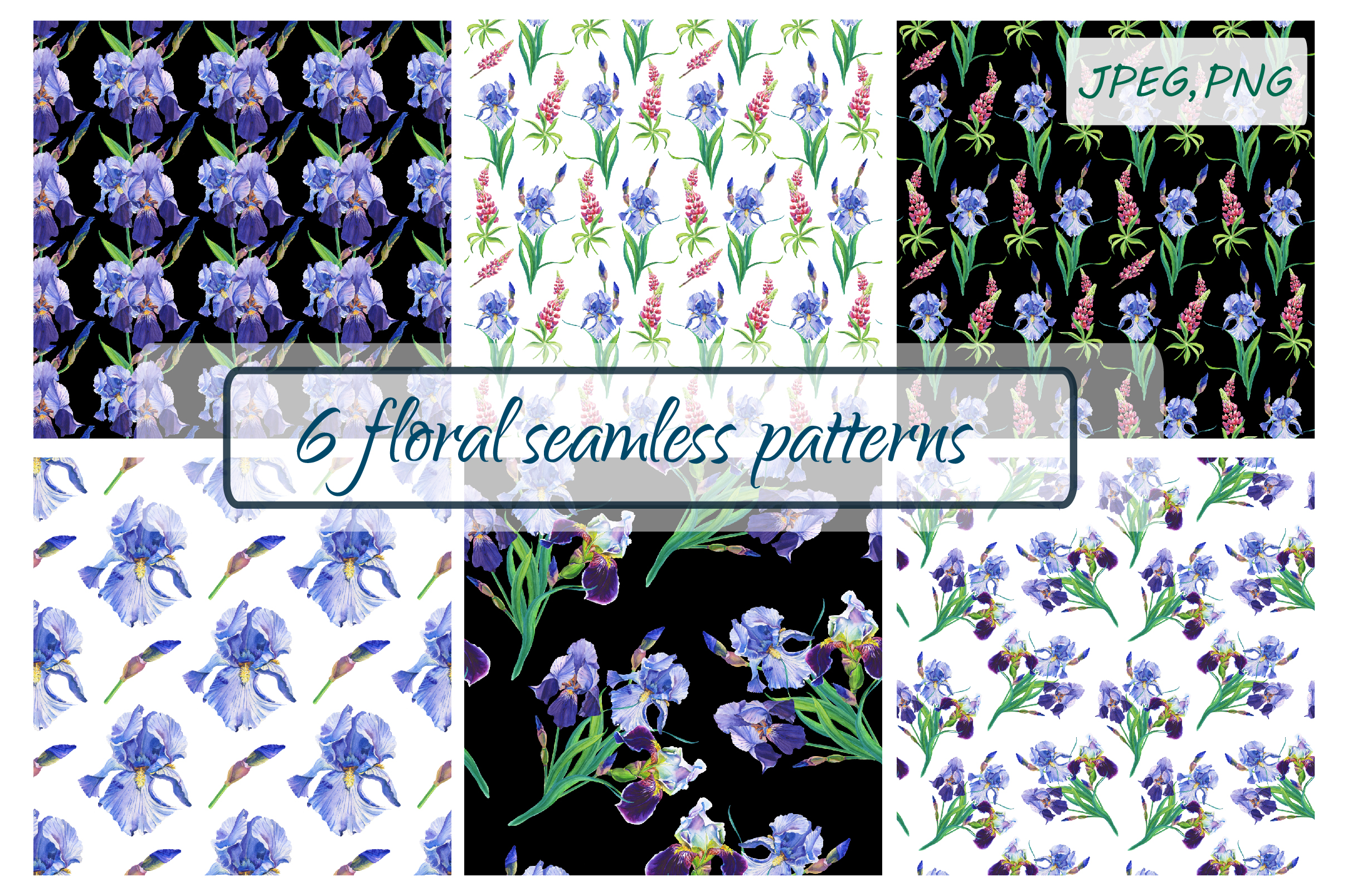 Watercolor irises,lupines.Patterns. example image 1