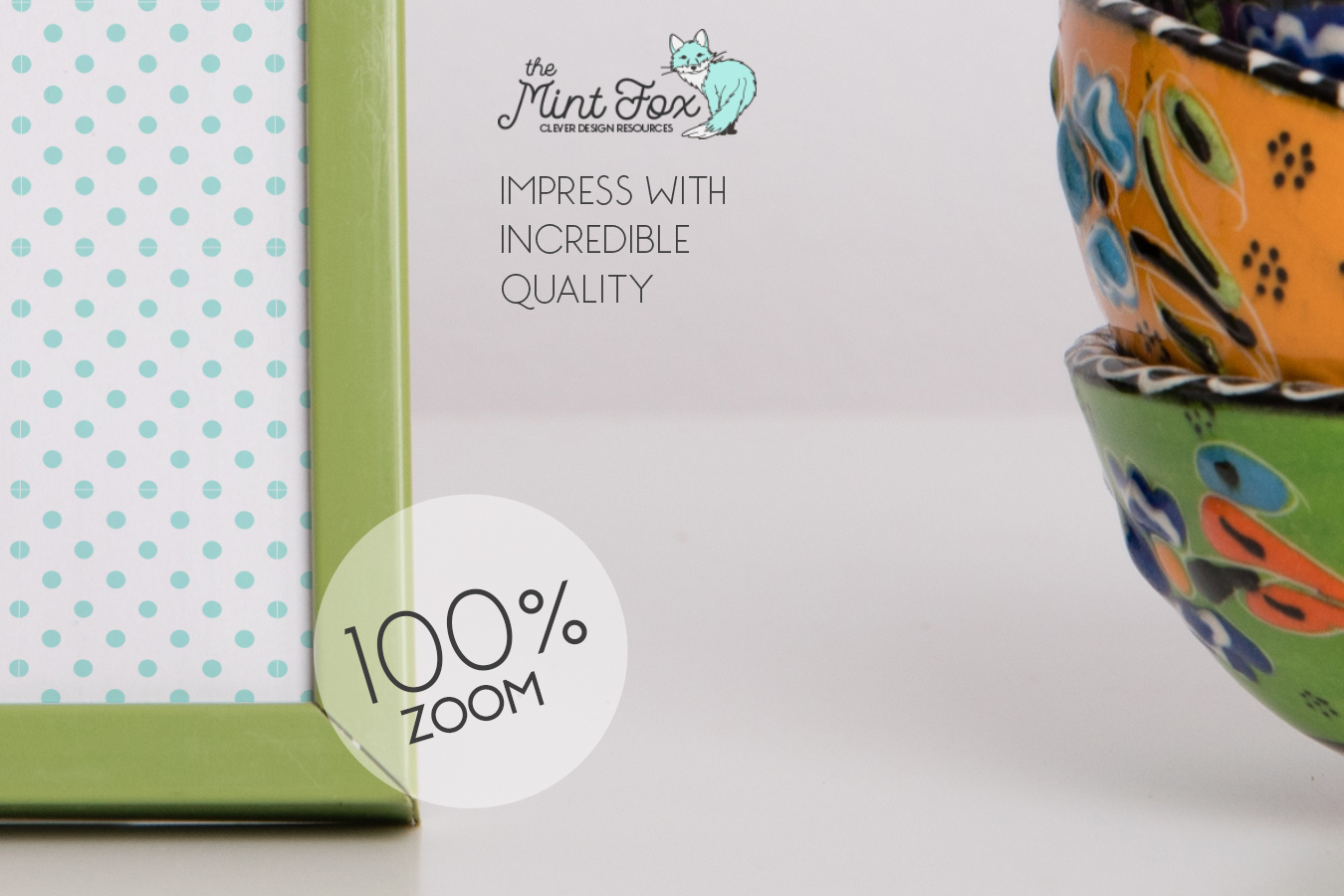 Photo Frame Mockup with Cups example image 2