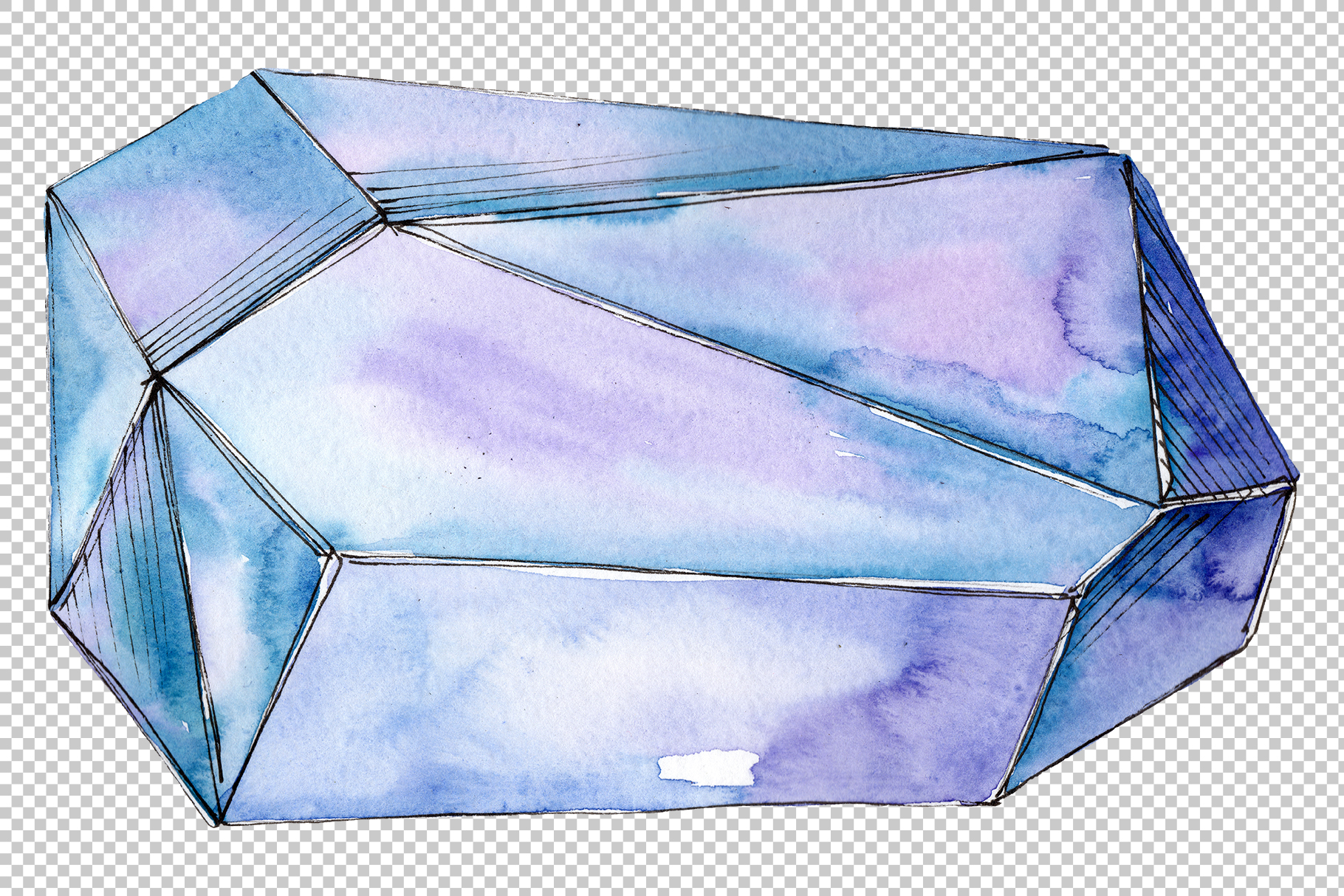 Crystals red yellow blue Watercolor png example image 5