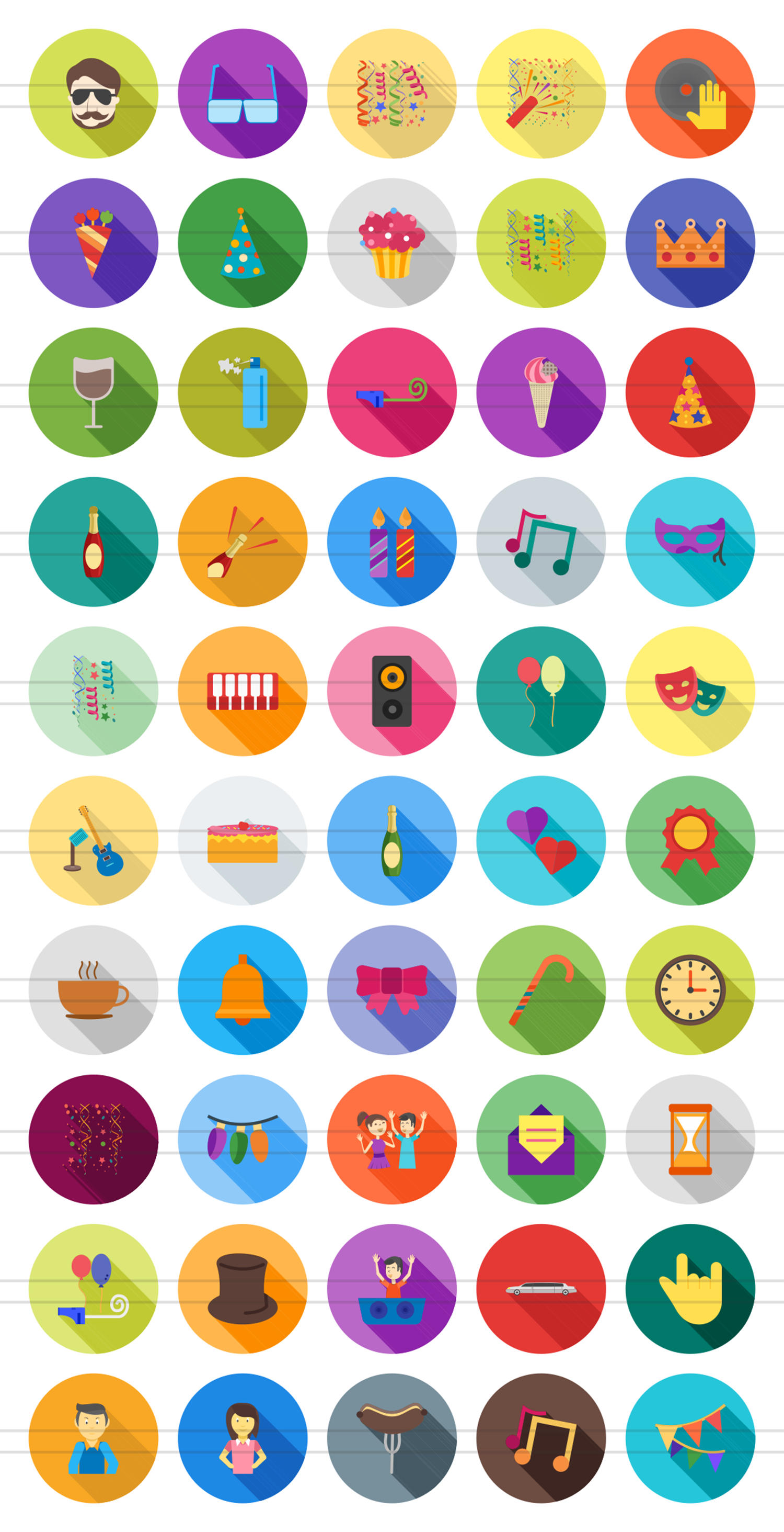 50 Party Flat Long Shadow Icons example image 2