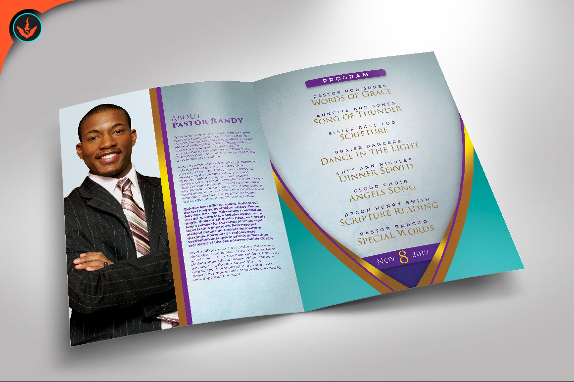 Royal Teal Pastor Birthday Party Program Photoshop Template example image 2