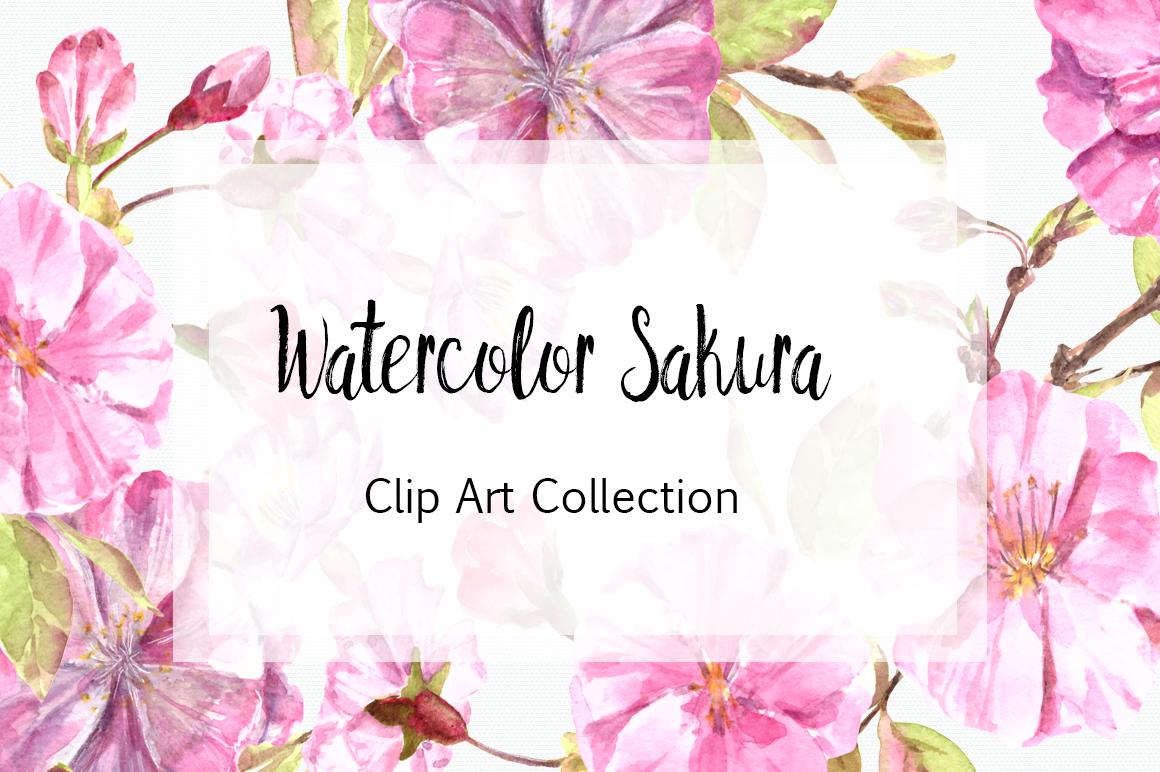 Watercolor Sakura Clip Art Set example image 1