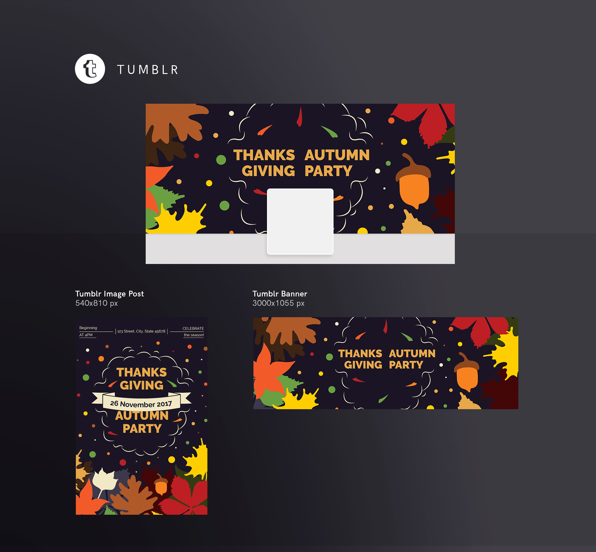 Thanksgiving Autumn Party Design Templates Bundle example image 13