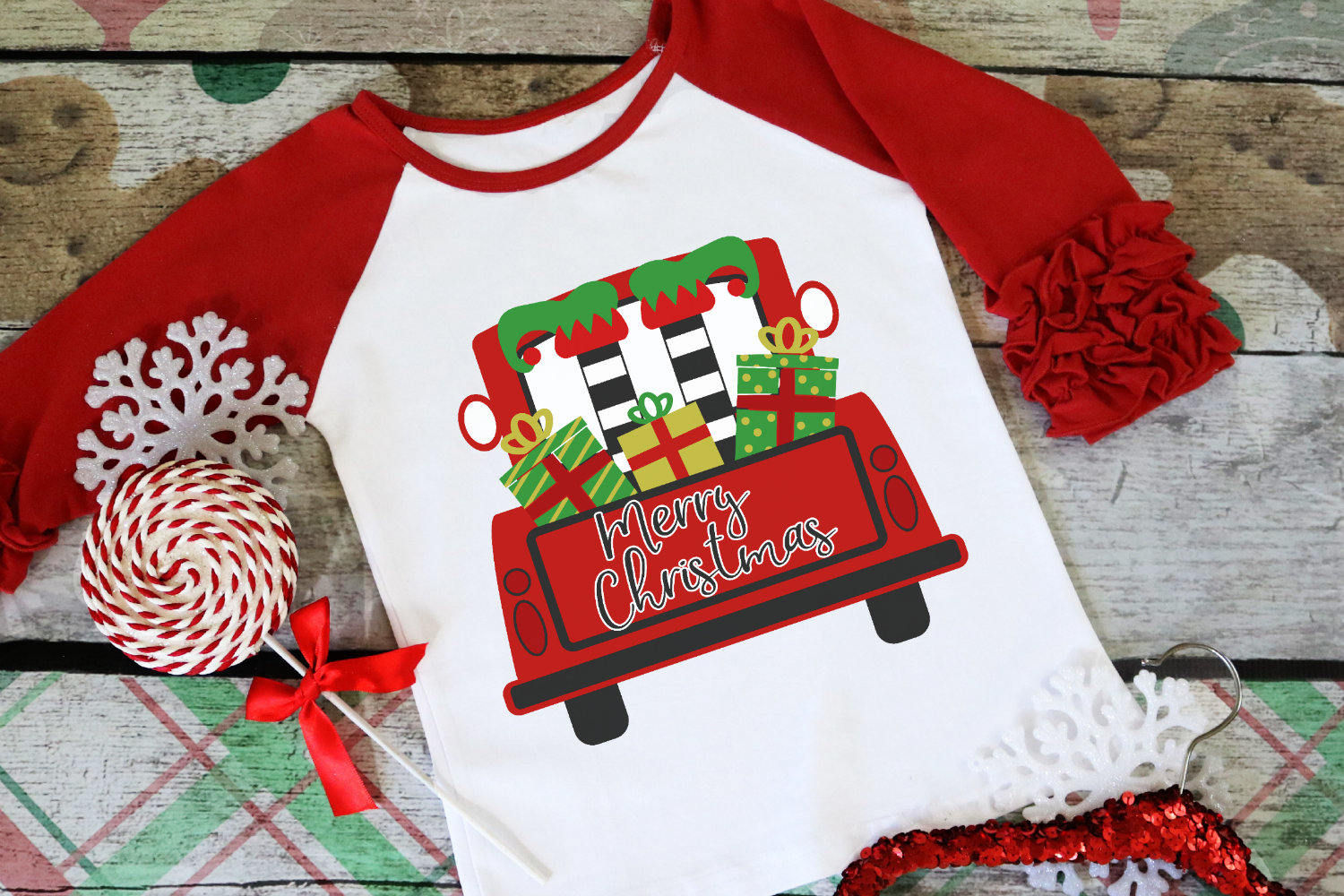 Elf - Merry Christmas - Christmas Vintage Truck Back SVG example image 1