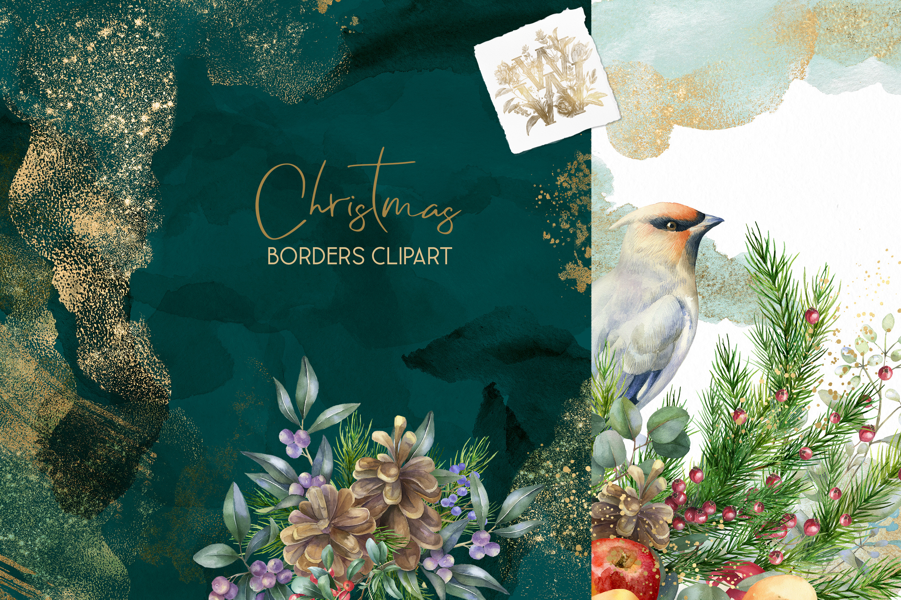 Christmas Watercolor Floral bouquets clipart, Winter wedding example image 8