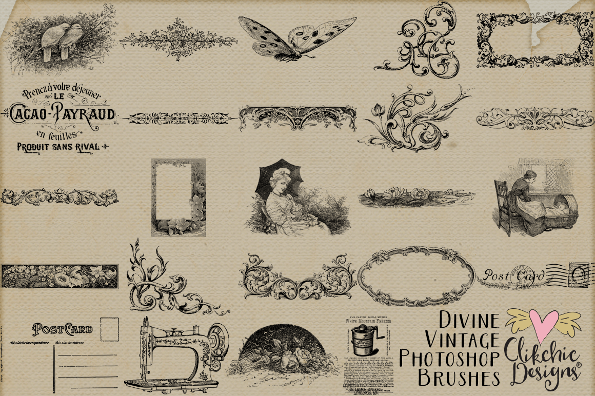Divine Vintage Illustrations & Photoshop Brushes example image 5