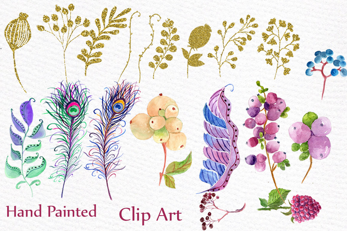 Watercolor masks and flowers clipart example image 2