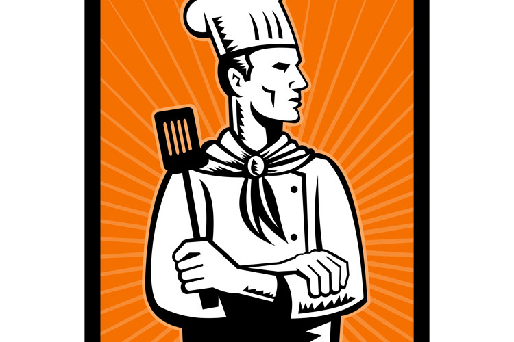 Retro chef cook holding spatula looking up example image 1