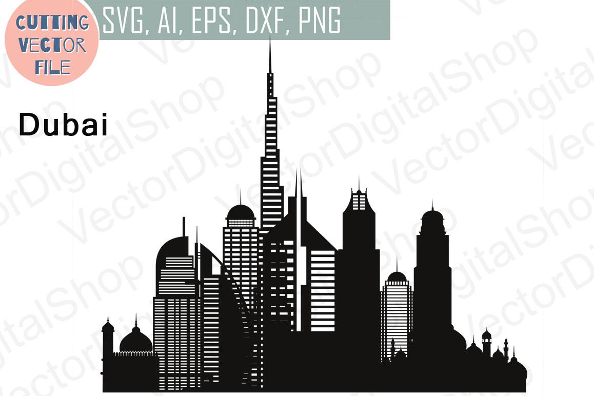 Dubai Vector, Travel Skyline United Arab Emirates, SVG, JPG, PNG, DWG, CDR, EPS, AI example image 1