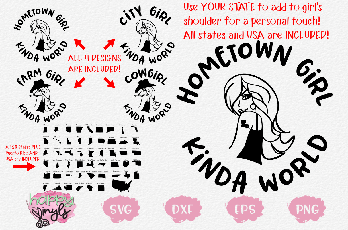 Girl Kinda World Design Set w/ 50 States & More - A Fun SVG example image 1