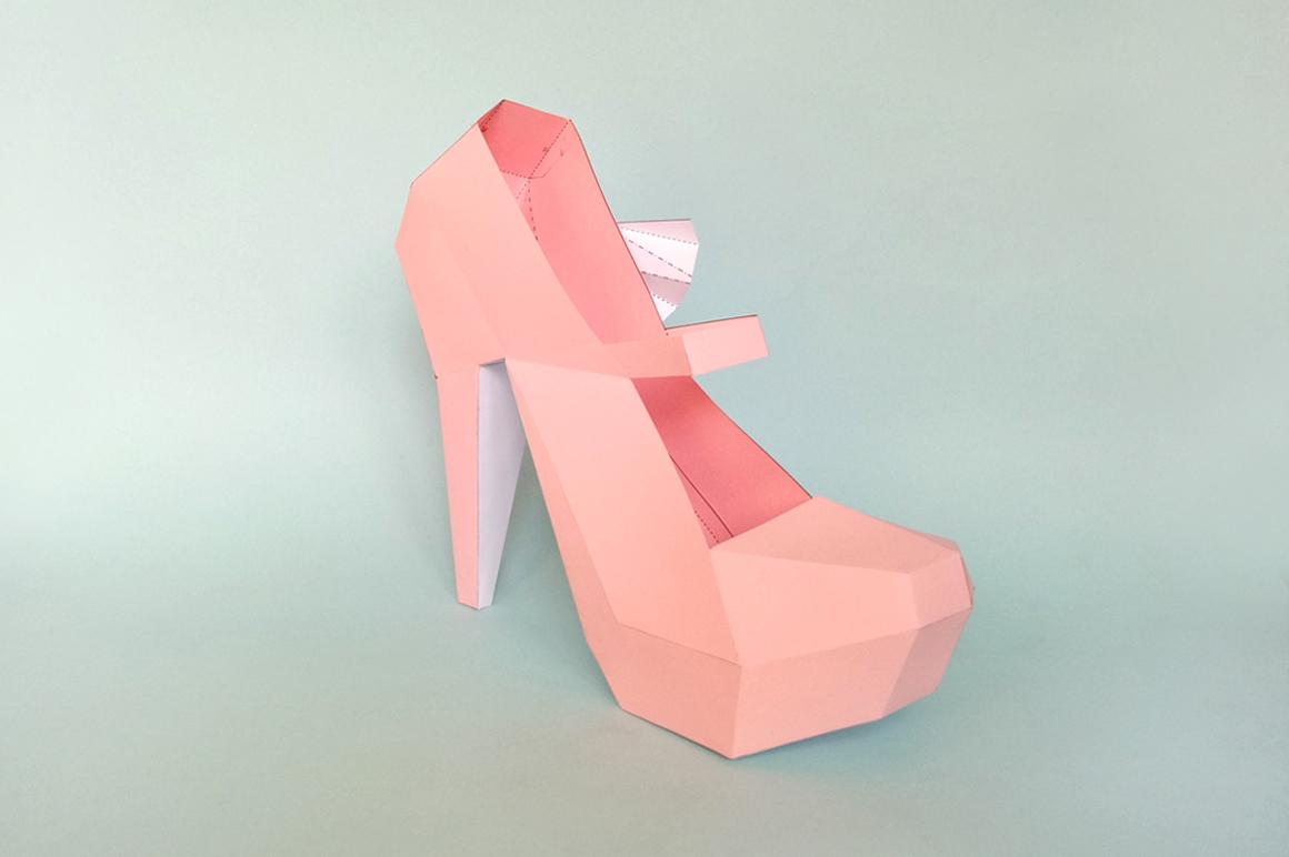 DIY Nude Pump shoes - 3d papercraft example image 2