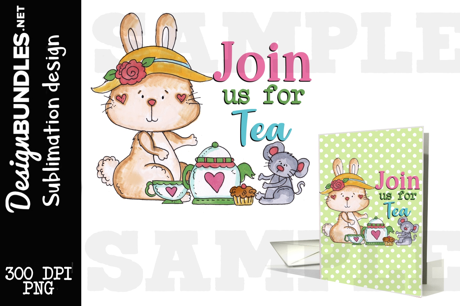 Join Us For Tea Sublimation Design example image 1