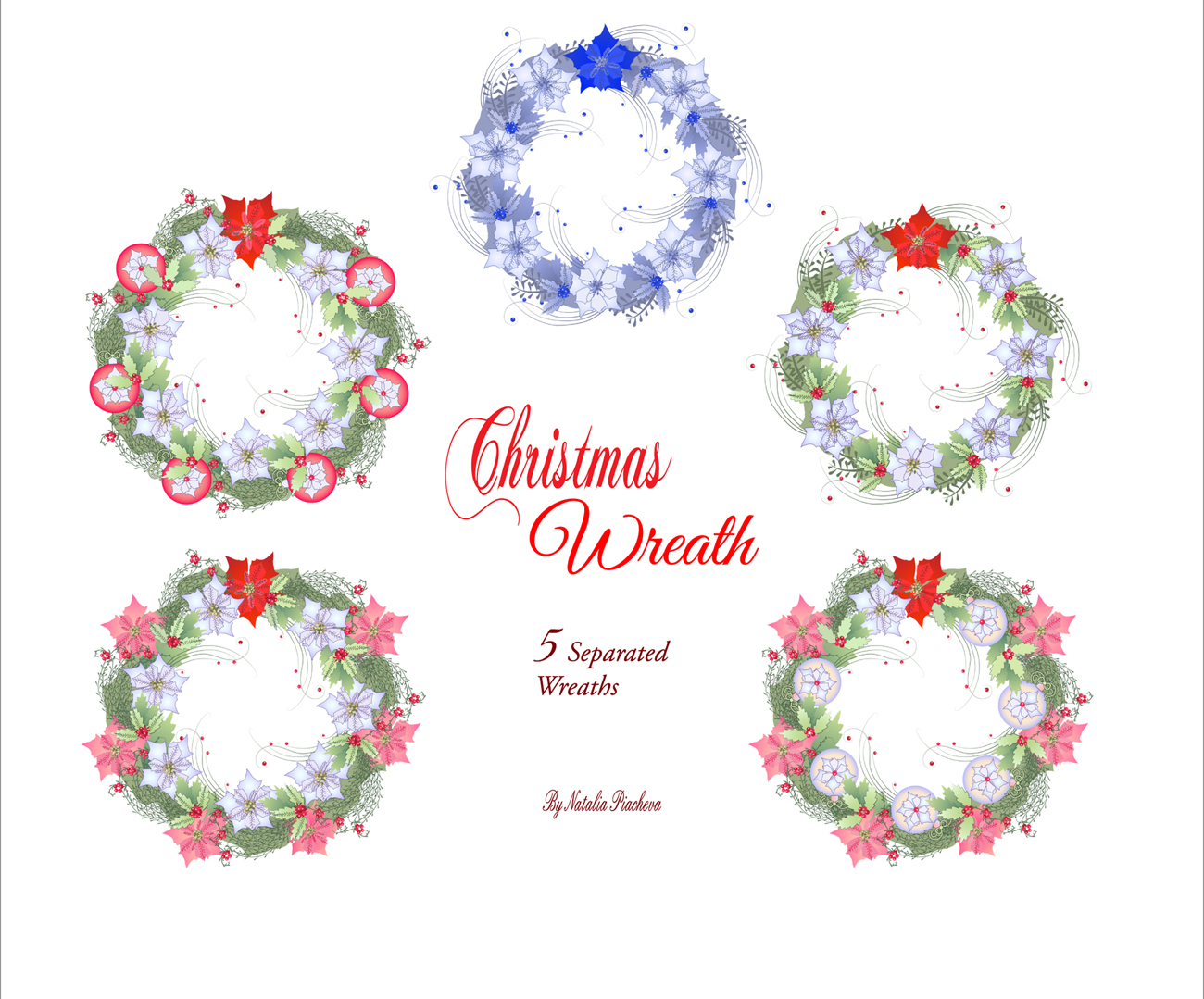 Christmas Wreath with Poinsettia example image 2
