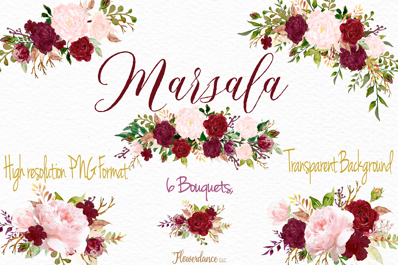 Watercolor Marsala and Blush Bundle for Weddings example image 3