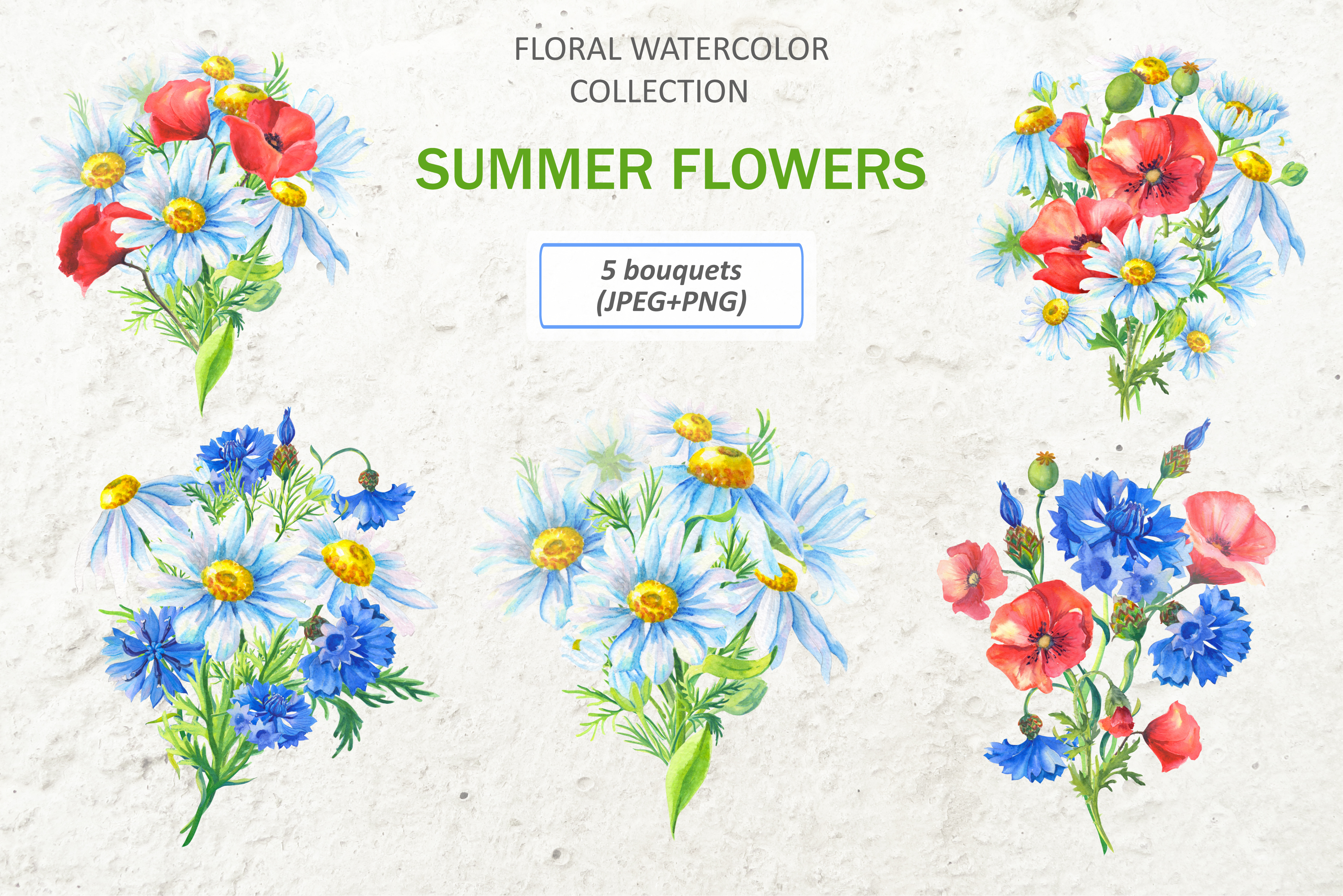 SUMMER FLOWERS.WATERCOLOR. example image 6