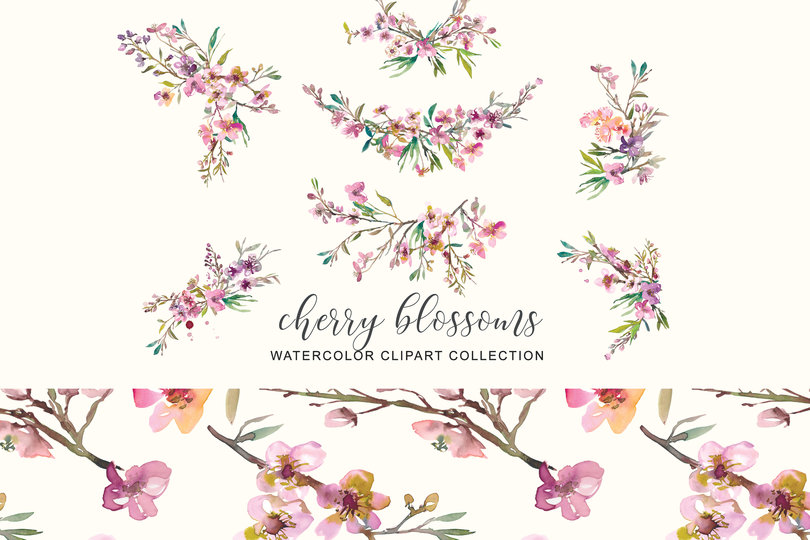 Hand Painted Watercolor Pink Cherry Blossoms example image 9