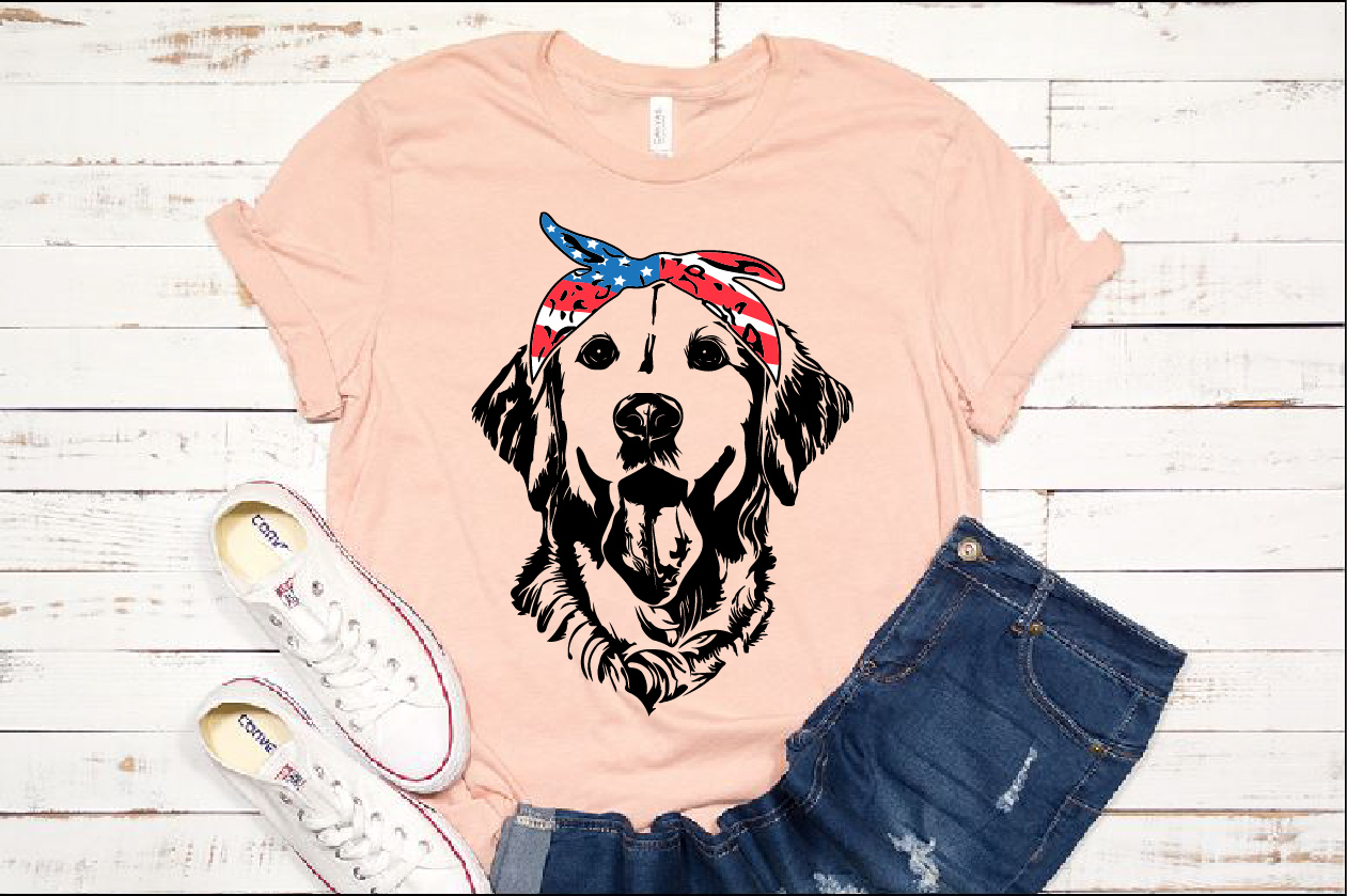 Lab SVG Labrador USA Bandana Head Dog 4th July Breed 1371s example image 1