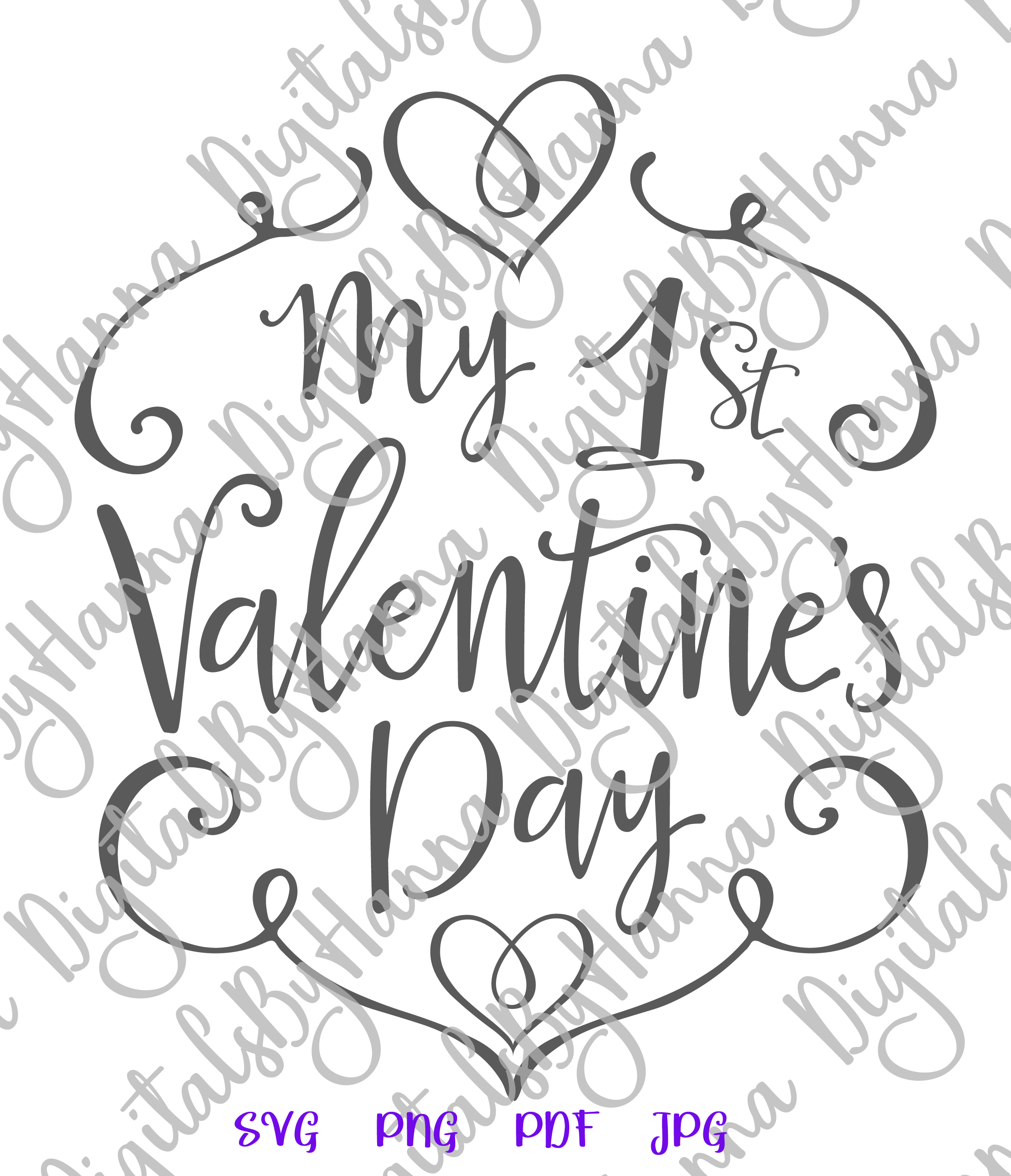My 1st valentine's day first Year Sign Print & Cut PNG SVG example image 5